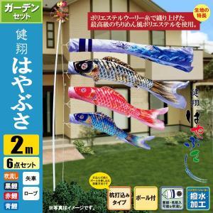 鯉のぼり こいのぼり 健翔はやぶさガーデンセット 2m 6点 ポール3.7m 杭打込みタイプ 撥水加工|jinya