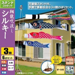 鯉のぼり こいのぼり 翔龍付シルキー鯉スタンドセット 3m 6点 ポール5.3m おもり(砂袋) 翔龍吹流し|jinya