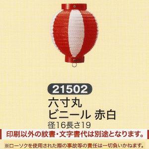祭礼提灯 特殊提灯 提灯 六寸丸 ビニール 赤白 ちょうちん|jinya