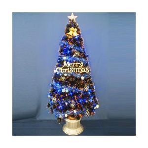 クリスマスツリー ファイバーツリー ブラックファイバーツリー150cmセット12ブルーLED30球付|jinya