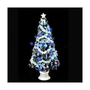 クリスマスツリー ブラックファイバーツリーセット180cm ブルーLED48球付|jinya