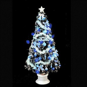クリスマスツリー ブラックファイバーツリーセット210cm ブルーLED68球付|jinya