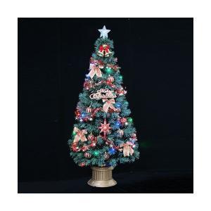 クリスマスツリー グリーンファイバーツリーセット210cm マルチLED54球付|jinya