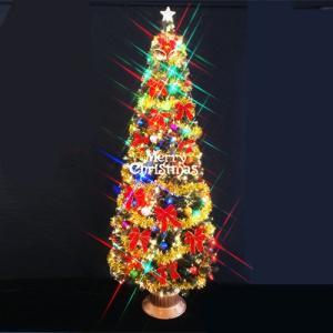 クリスマスツリー ファイバーツリー 240cmグリーンファイバーツリーセット マルチLED72球付|jinya