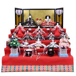 雛人形 五段飾り ひな人形 15人飾り ミニ段飾り 十五人5段飾り コンパクト ひな祭り飾り お雛様|jinya
