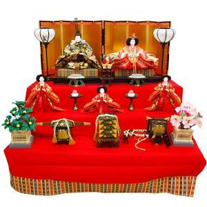 雛人形 三段飾り コンパクト ひな人形 五人飾り ひな人形 5人飾り 3段 ひな人形|jinya