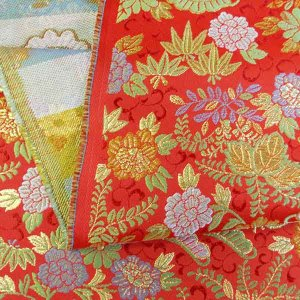 金襴生地 金襴の布 赤地に花柄|jinya