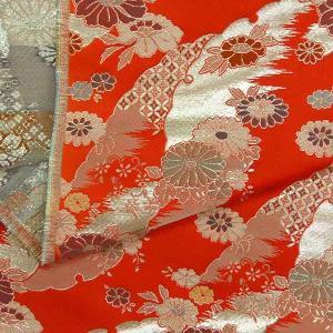金襴生地 金襴の布 赤字に花柄|jinya