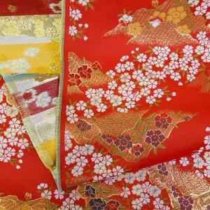 金襴生地 金襴の布 赤地に桜柄|jinya