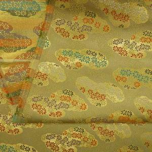 金襴生地 金襴の布 ベージュ地に雲に小菊|jinya