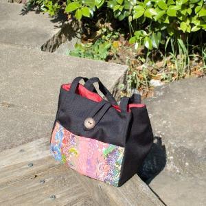 布バッグ バティックパッチワーク黒 サンプル品|jitacollection