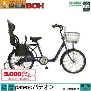 子供乗せ自転車 完全組立 パテオ 22インチ 6段変速 後ろチャイルドシート付き 3人乗り対応 Pro-vocatio|jitensha-box