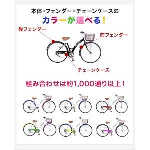 カラフル サイクル 自転車 27インチ シティサイクル 6段変速付 LEDオートライト装備 ライト 6段ギア シティーサイクル ママチャリ|jitensyahimitsukichi|02