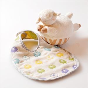 スタイ付きひつじセット コロコロオーガニックひつじ&六重織ガーゼスタイ 日本製 三河木綿 出産祝い|jiyu