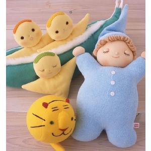 【動物ボールとら3点セット】豆人形グリーン オルゴールねむり人形ブルー 出産祝い お誕生日|jiyu