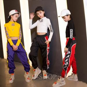 キッズダンス衣装 hiphop セットアップ ダンス衣装 ガールズ ヒップホップ トップス ジャズダンス 衣装 ヒップホップパンツ 子供用 日常着