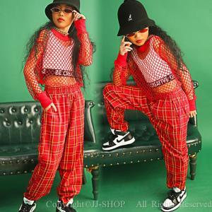 メッシュ チェックパンツ タンクトップ キッズ ダンス衣装 ヒップホップ HIPHOP チェック柄 ダンストップス   女の子 ジャズダンス ステージ衣装 練習着 体操服 jj-shop