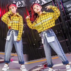 チェックシャツ デニムパンツ hiphop キッズダンス衣装 ヒップホップ HIPHOP チェック柄 子供 セットアップ ジャズダンス 練習着 体操服 ステージ衣装 jj-shop