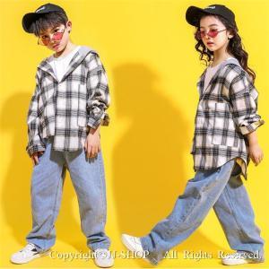 チェック柄 ダンスシャツ デニムパンツ キッズ ダンス衣装 ヒップホップ HIPHOP 子供 セットアップ ジャズダンス衣装 演出服 練習着 ステージ衣装 体操服 jj-shop