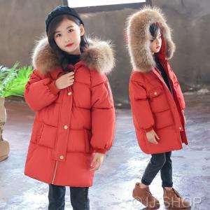 af1d97e5c3746 冬着 子供服 可愛い キッズコート 女の子 アウター ロングコート 女児 アウター ジャケット ファー部分 韓国風 厚手 防寒服コート スクール  暖かい 中綿コート