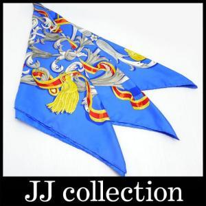 シルク 大判スカーフ・カレ ブルー系カラフルなデザインのスカーフ p10|jjcollection2008