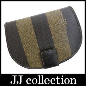 二つ折り財布ペカン柄カーキ×ダークブラウン半円形のかわいい財布|jjcollection2008