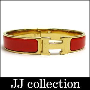 HERMES エルメス Hバングル クリッククラックPM オレンジ×ゴールド金具 jjcollection2008