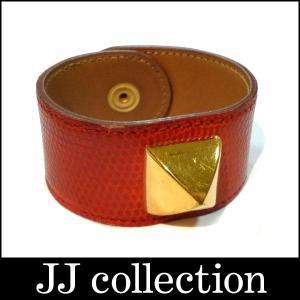 HERMES エルメス ブレスレット バングル メドール リザード レッド×ゴールド金具 口B刻印 サイズM 幅2.8cm jjcollection2008