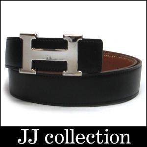Hベルト コンスタンス レザー シルバー金具 ブラック×ゴールド F刻印 サイズ74|jjcollection2008