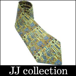 HERMES シルクネクタイ シルク100% エジプト 象形文字柄 イエロー×ベージュ×ブルー|jjcollection2008