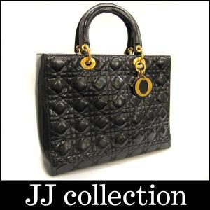 Dior クリスチャン ディオール ハンドバッグ レディディオール ダイアナカナージュ エナメルレザー ブラック×ゴールド金具|jjcollection2008