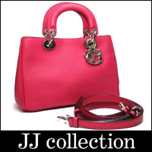Christian Dior クリスチャンディオール 2WAYショルダーバッグ ディオリッシモ ピンク×オレンジ(内側)×シルバー金具|jjcollection2008