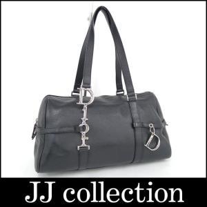 Christian Dior クリスチャン・ディオール ミニボストンバッグ レザー ブラック シルバー金具|jjcollection2008