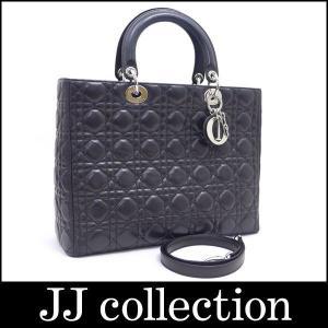 Dior クリスチャン ディオール 2WAYショルダーバッグ ブラック×シルバー金具 ラムスキン|jjcollection2008