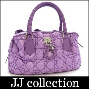 Christian Dior クリスチャン・ディオール ハンドバッグ カナージュステッチ ナイロンキャンバス×レザー ラベンダー(薄紫)×シルバー金具|jjcollection2008