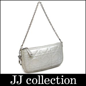 Christian Dior クリスチャンディオール アクセサリーポーチ カナージュステッチ シルバー|jjcollection2008