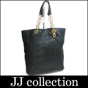 Christian Dior クリスチャンディオール チェーンショルダーバッグ カナージュステッチ ブラック×ゴールド金具|jjcollection2008