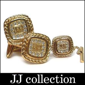 Christian Dior クリスチャン ディオール カフス・タイタックピン セット ゴールド ラインストーン|jjcollection2008