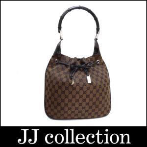 GUCCI グッチ バンブーワンショルダーバッグ 巾着バッグ GGキャンバス×レザー ブラウン×ブラック×シルバー金具|jjcollection2008