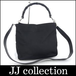 GUCCI グッチ 2WAYハンドバッグ バンブーハンドル キャンバス ブラック|jjcollection2008