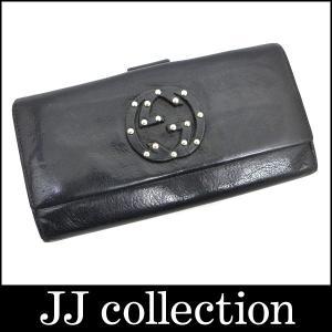 GUCCI グッチ Wホック二つ折り長財布 ブラック×シルバー金具|jjcollection2008