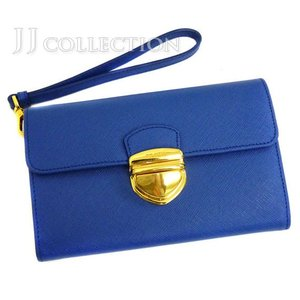 PRADA プラダ ストラップ付き2つ折り財布 ブルー サフィアーノ レザー|jjcollection2008