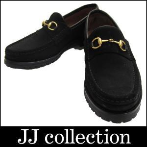 GUCCI ローファー シューズ ブラック ホースビット スエードレザー ゴールド金具 表記サイズ 7B|jjcollection2008