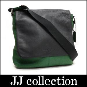 COACH コーチ メッセンジャーバッグ レザー バイカラー グリーン×ブラック×シルバー金具|jjcollection2008