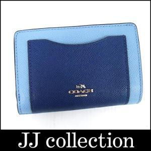 COACH コーチ L字ラウンドファスナー2つ折り財布 型押しレザー ブルー系 バイカラー カラーブロック|jjcollection2008