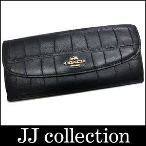 COACH コーチ 二つ折り長財布 クロコ調 型押しレザー ブラック|jjcollection2008