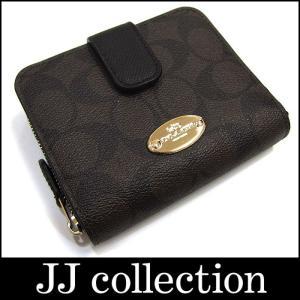 COACH コーチ シグネチャー ジップアラウンド 二つ折り財布 PVCレザー ブラック×ブラウン×ゴールド金具|jjcollection2008