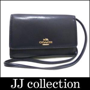 COACH コーチ クロスボディ ショルダーストラップ付きスマートフォンケース レザー ネイビー×ゴールド金具|jjcollection2008