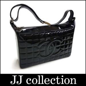 CHANEL シャネル チョコバー ショルダーバッグ パテント ブラック×シルバー金具 jjcollection2008