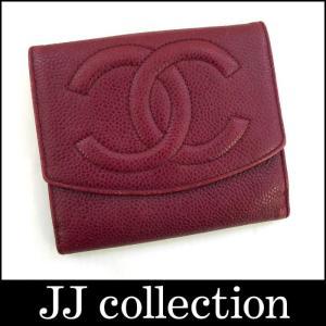 CHANEL シャネル Wホック二つ折り財布 レッド(赤) キャビアスキン ココマーク jjcollection2008